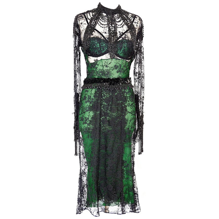 Tom Ford Fall 2011 Chantilly Lace Dress emerald green 44 NWT