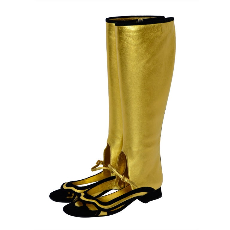 prada knee high boots shoes gold leather 2008 new at