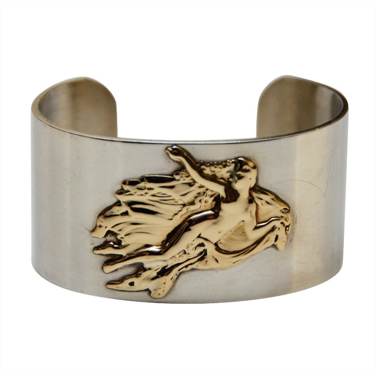 Vintage PIERRE CARDIN Cuff Sterling Silver 14K Aphrodite Bracelet 1