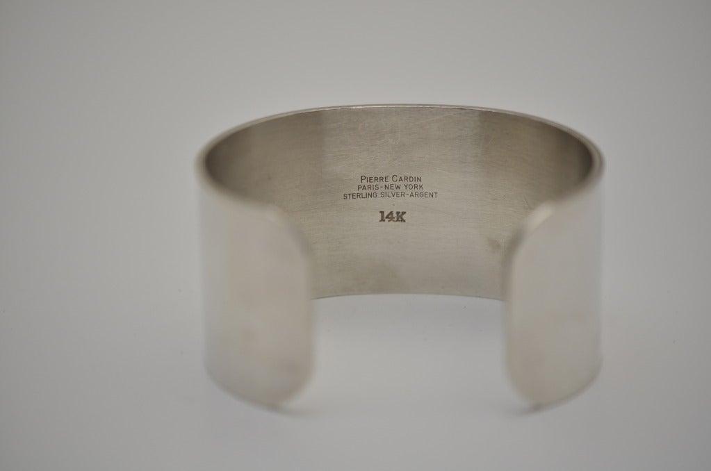 Vintage PIERRE CARDIN Cuff Sterling Silver 14K Aphrodite Bracelet 4