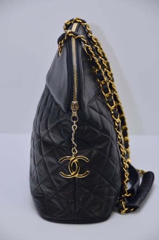 Chanel Vintage Black Lambskin Quilted Leather Large Shoulder  Handbag 5