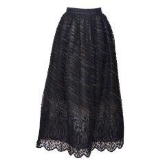 Oscar De La Renta Long Beaded Tulle Evening Skirt