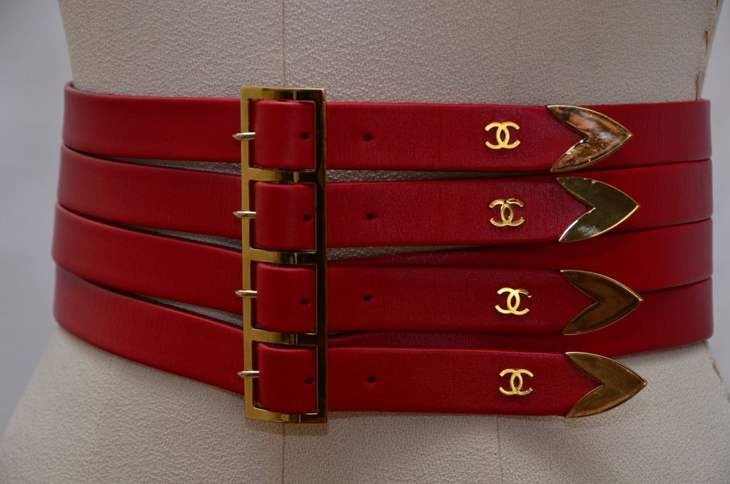 Chanel Red  Corset Belt New '90 2