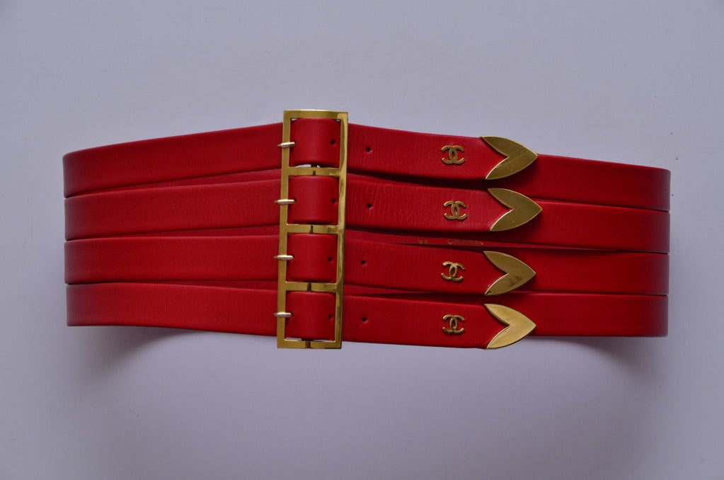 Chanel Red  Corset Belt New '90 3