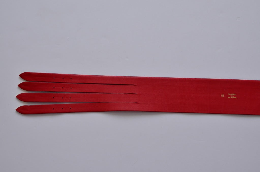 Chanel Red  Corset Belt New '90 For Sale 3