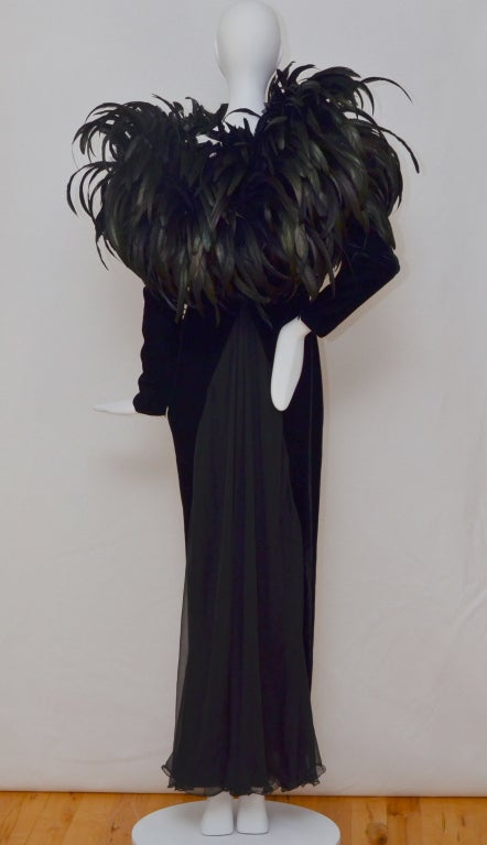 Christian Dior Haute Couture Cockerel Feathers Velvet Dress 2