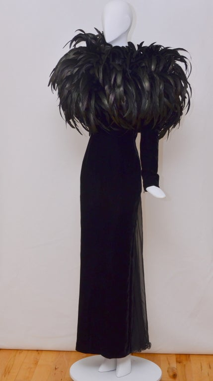 Christian Dior Haute Couture Cockerel Feathers Velvet Dress 3