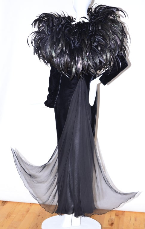 Christian Dior Haute Couture Cockerel Feathers Velvet Dress 4
