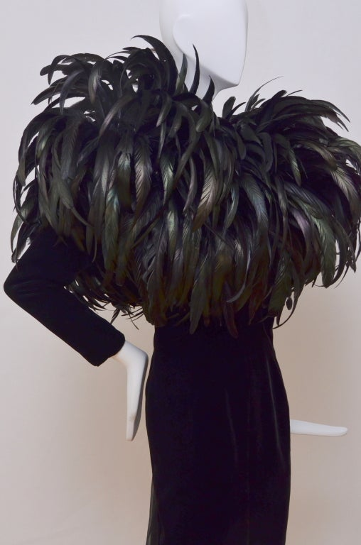 Christian Dior Haute Couture Cockerel Feathers Velvet Dress 6
