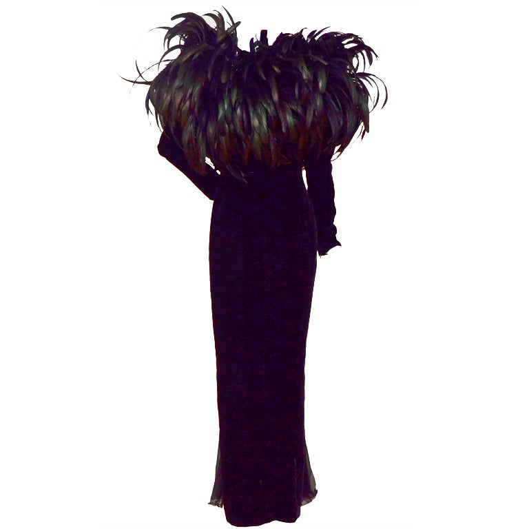 Christian Dior Haute Couture Cockerel Feathers Velvet Dress 1
