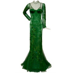 Tom Ford Emerald Green Embroidered  Silk Satin Lace Dress