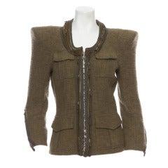 Balmain Army Green Tweed Jacket New