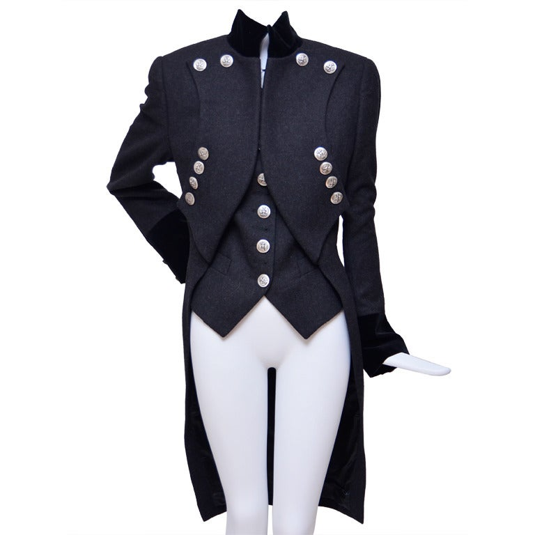 dolce and gabbana military tailcoat jacket and matching vest exquisite at 1stdibs
