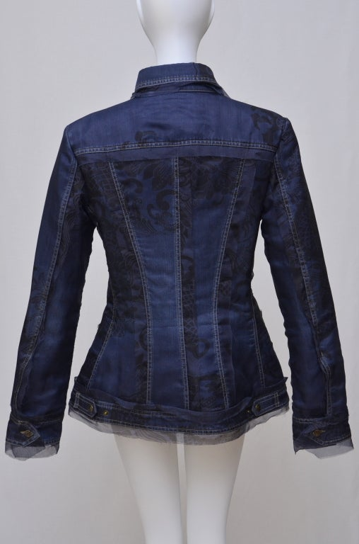 Gianfranco Ferre Denim Lace Tulle Jacket.