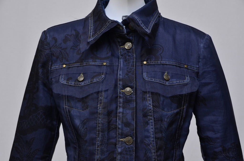 Black Gianfranco Ferre Denim Lace Tulle Jacket For Sale