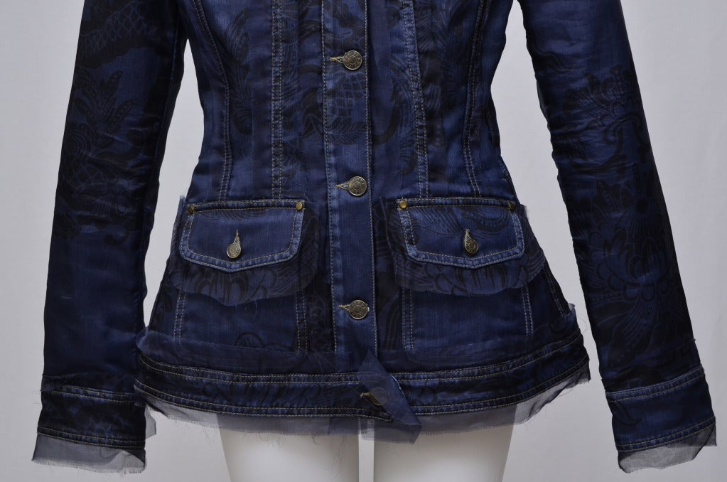 Gianfranco Ferre Denim Lace Tulle Jacket In Excellent Condition For Sale In Hollywood, FL