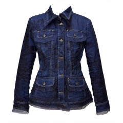 Gianfranco Ferre Denim Lace Tulle Jacket