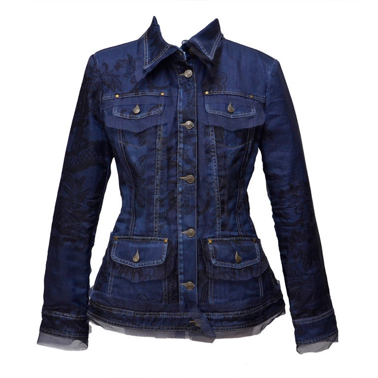 Gianfranco Ferre Denim Lace Tulle Jacket For Sale