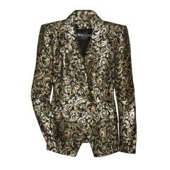 BALMAIN metallic brocade jacket db crested buttons 40 /6 New
