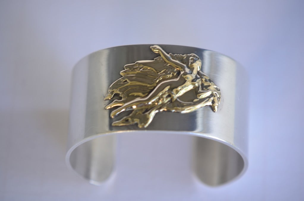 Vintage PIERRE CARDIN Cuff Sterling Silver 14K Aphrodite Bracelet 6
