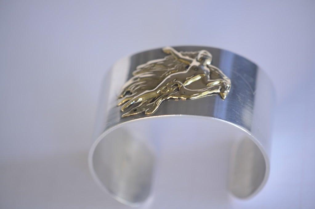 Vintage PIERRE CARDIN Cuff Sterling Silver 14K Aphrodite Bracelet 7