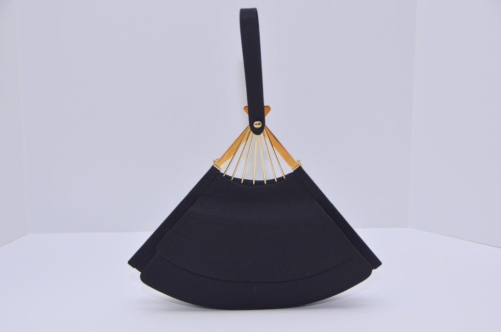 Karl Lagerfeld Black Faille Fan Purse Handbag '80 2