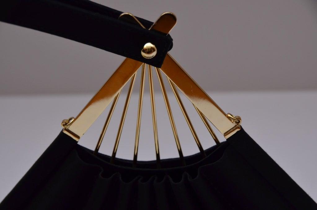 Karl Lagerfeld Black Faille Fan Purse Handbag '80 4