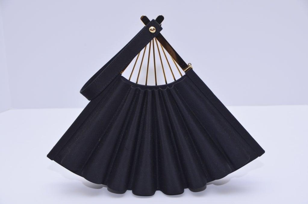 Karl Lagerfeld Black Faille Fan Purse Handbag '80 5