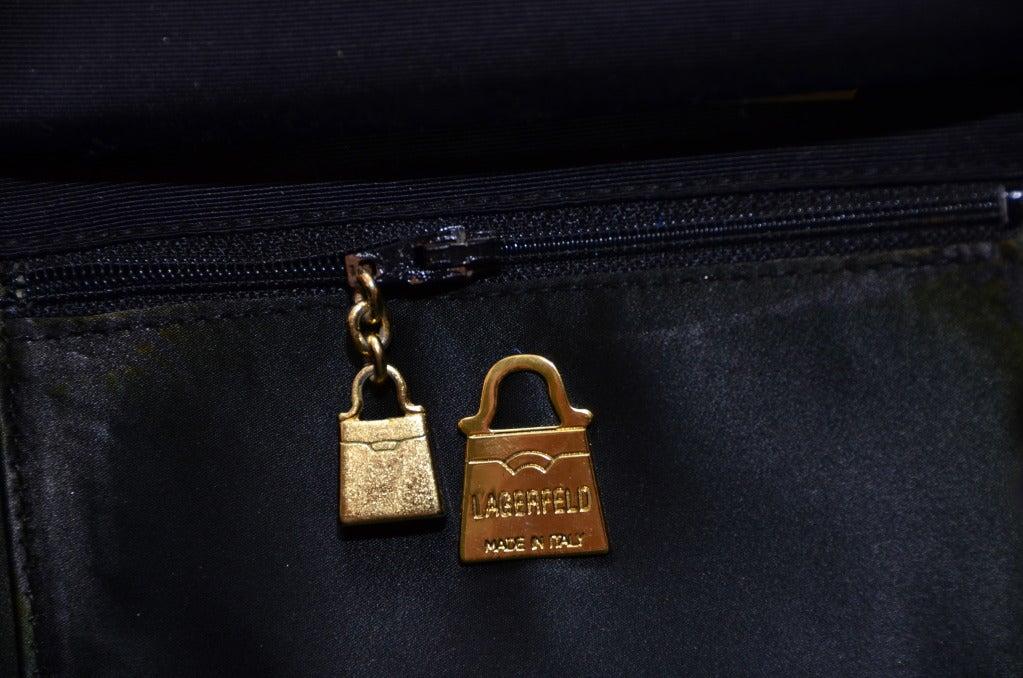 Karl Lagerfeld Black Faille Fan Purse Handbag '80 6