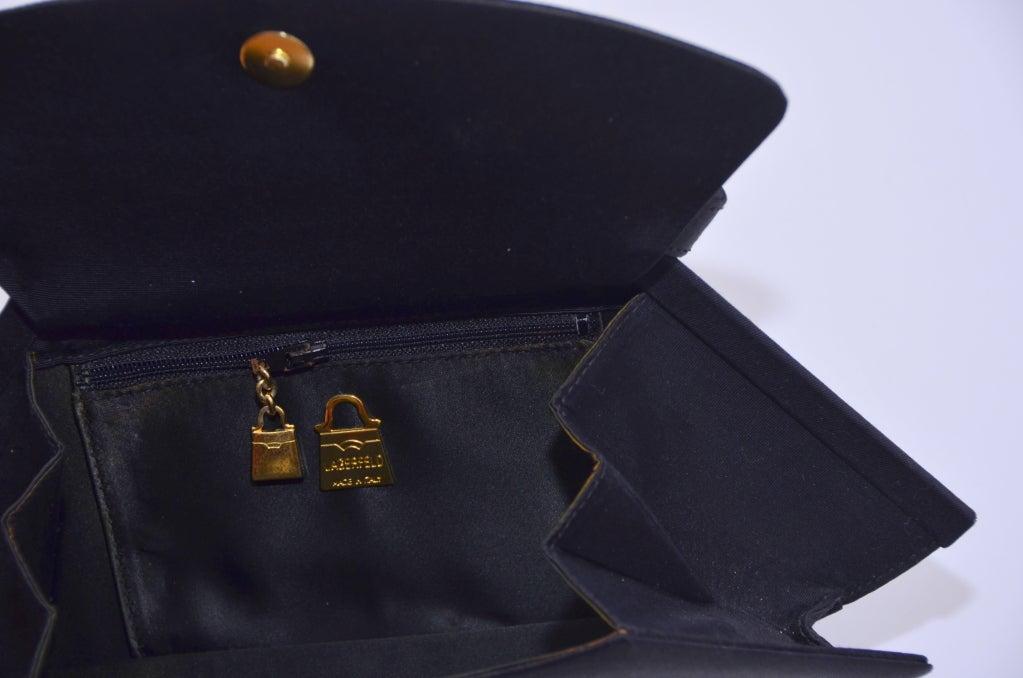 Karl Lagerfeld Black Faille Fan Purse Handbag '80 7