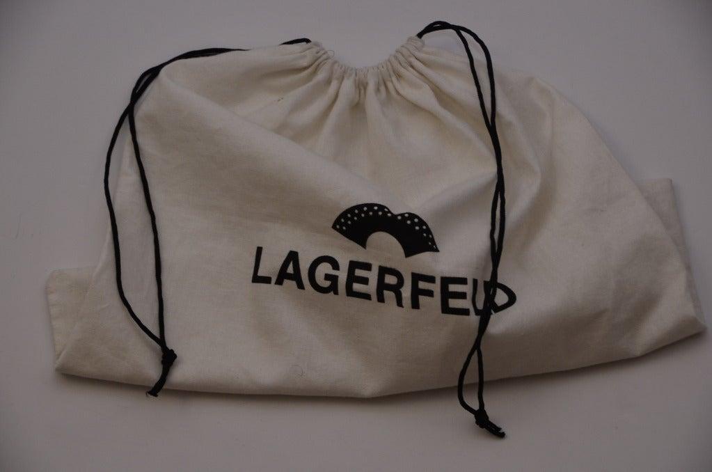 Karl Lagerfeld Black Faille Fan Purse Handbag '80 8