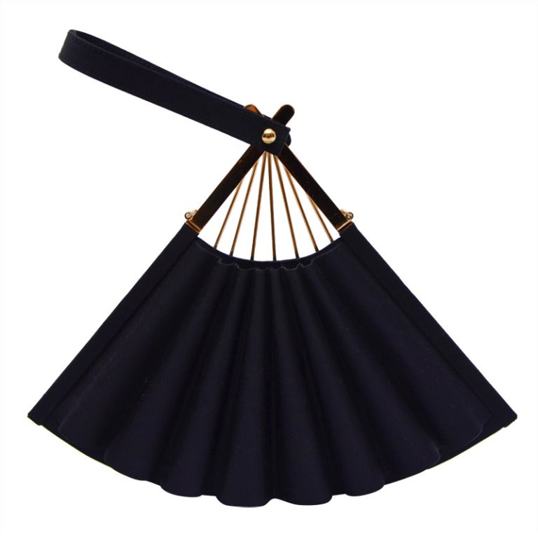 Karl Lagerfeld Black Faille Fan Purse Handbag '80 1