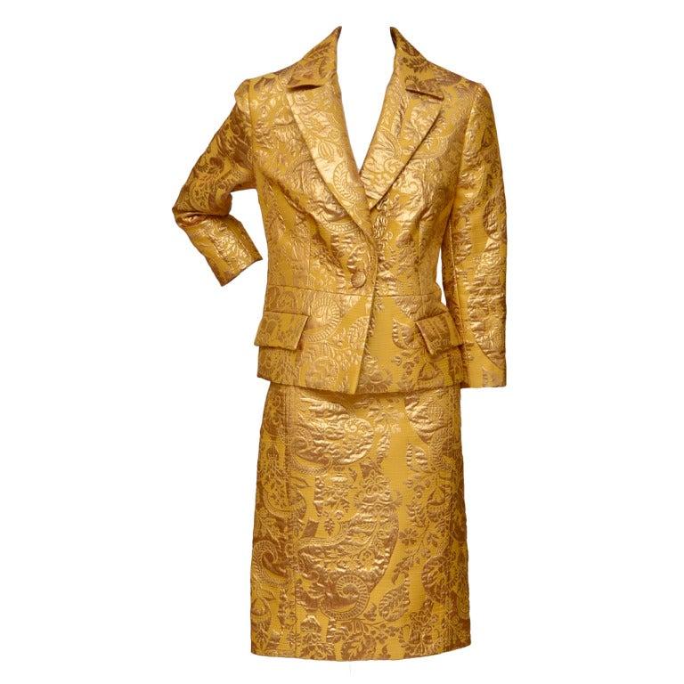Julien MacDonald Gold Brocade Suit New