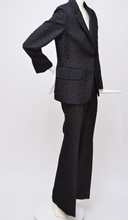 Tom Ford for Gucci Crocodile Textured Black  pant/blazer  suit.