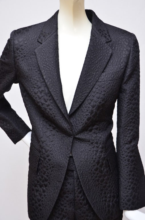 Tom Ford for Gucci Crocodile Textured Black  Suit In Excellent Condition For Sale In Hollywood, FL