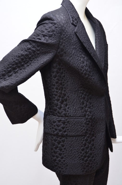Women's Tom Ford for Gucci Crocodile Textured Black  Suit For Sale