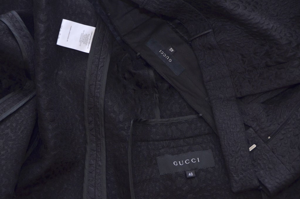 Tom Ford for Gucci Crocodile Textured Black  Suit For Sale 1