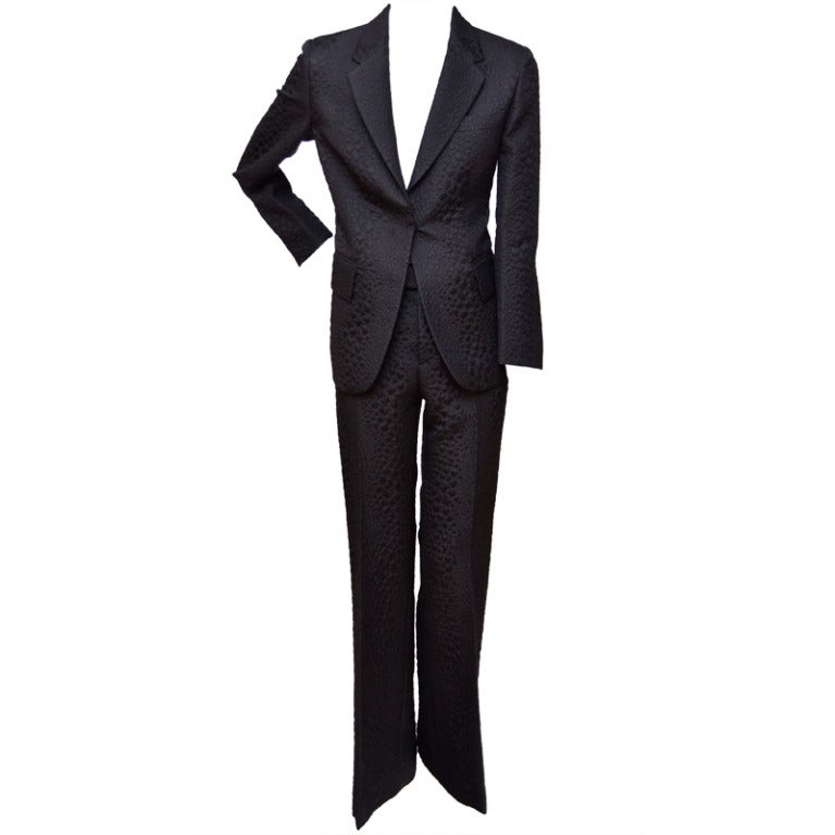 Tom Ford for Gucci Crocodile Textured Black  Suit For Sale