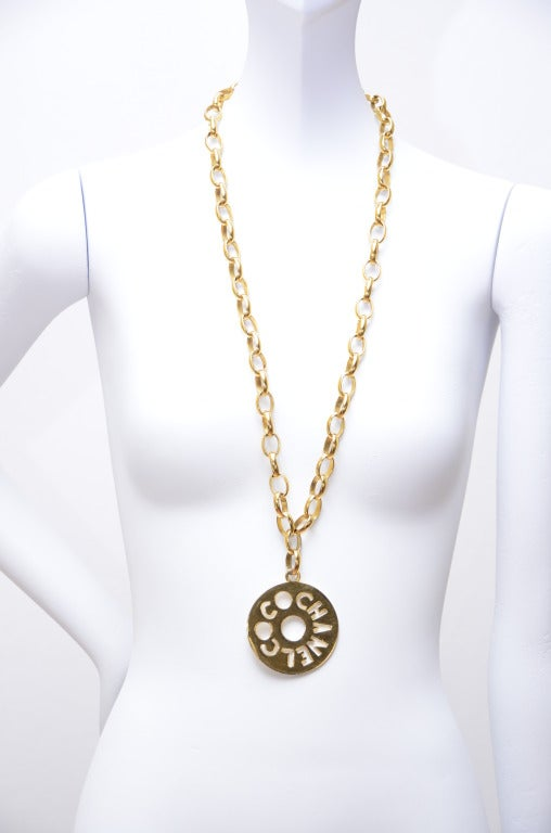 Coco Chanel Large Pendant Vintage Necklace at 1stdibs
