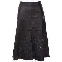 Emporio Armani Leather Aplique Skirt