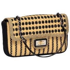 CHANEL Black & Straw Raffia 2.55 Flap Bag