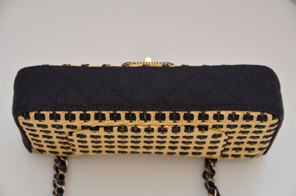 Women's CHANEL Black & Straw Raffia 2.55 Flap Bag
