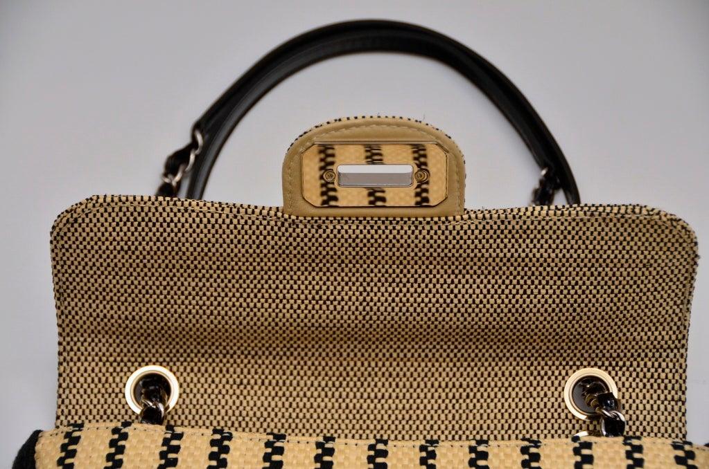 CHANEL Black & Straw Raffia 2.55 Flap Bag 1