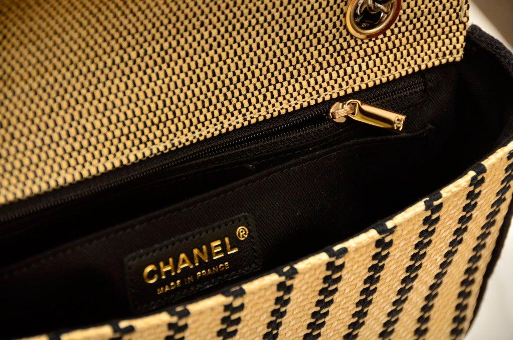 CHANEL Black & Straw Raffia 2.55 Flap Bag 2