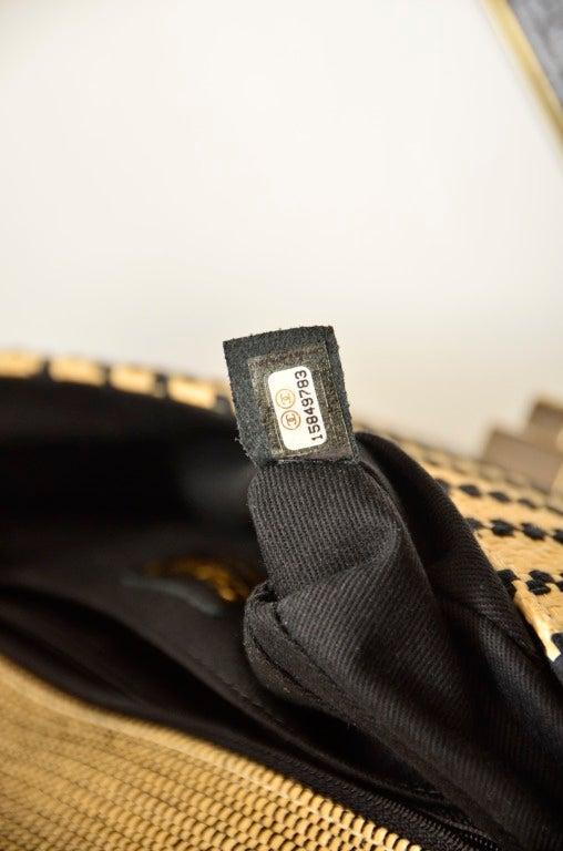 CHANEL Black & Straw Raffia 2.55 Flap Bag 3