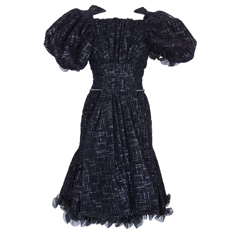 CHANEL 2012 Runway dress RARE textured tulle puff sleeve 38 NEW 1
