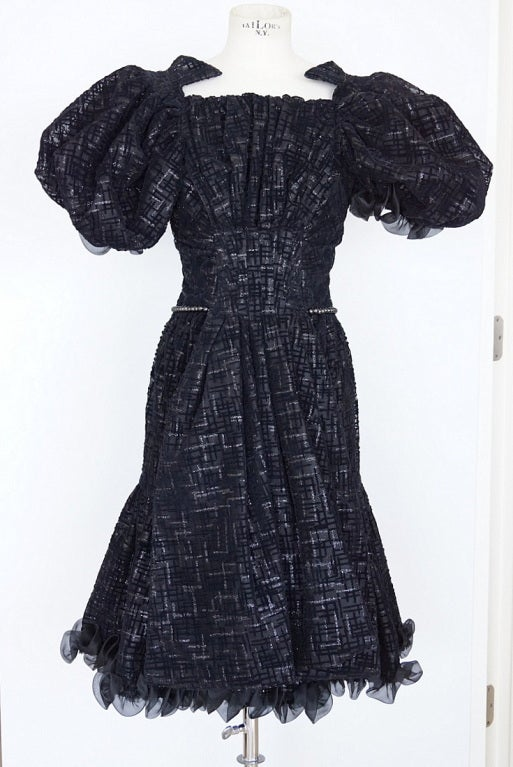 CHANEL 2012 Runway dress RARE textured tulle puff sleeve 38 NEW 2