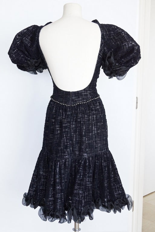 CHANEL 2012 Runway dress RARE textured tulle puff sleeve 38 NEW 3