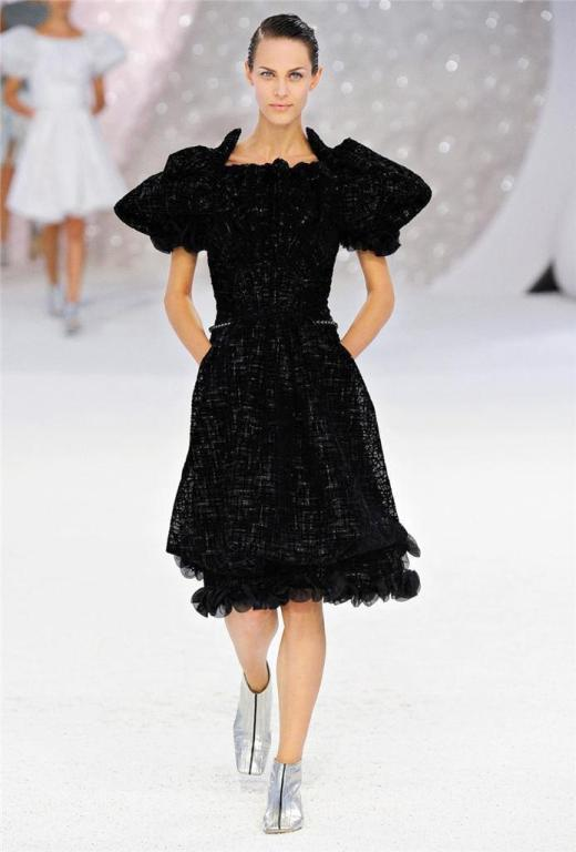 CHANEL 2012 Runway dress RARE textured tulle puff sleeve 38 NEW 4