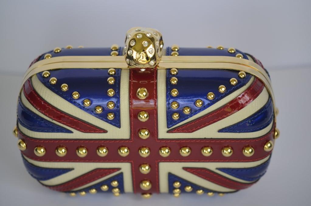 Alexander Mcqueen Patent Leather Britannia Skull Box Clutch image 2